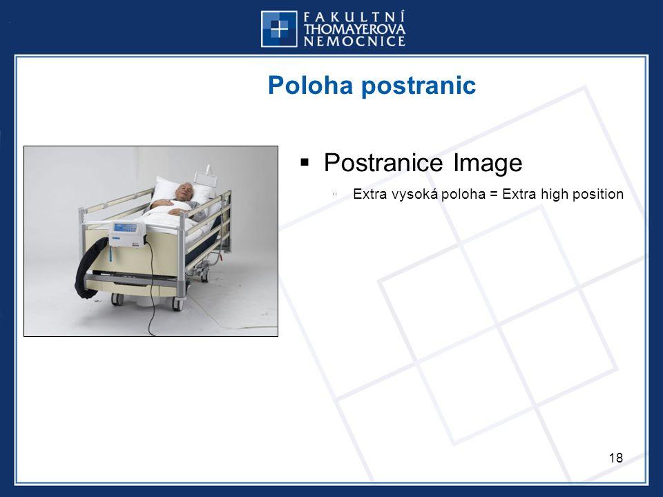18 Poloha postranic  Postranice Image ▫Extra vysoká poloha = Extra high position