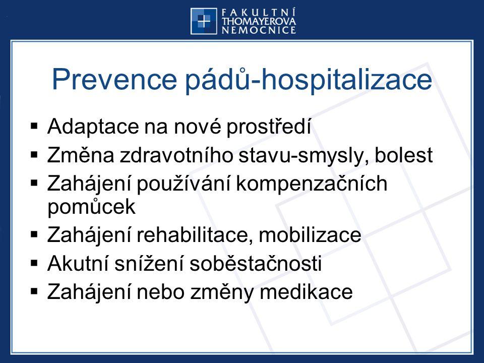  Adaptace na nové prostředí  Změna zdravotního stavu-smysly, bolest  Zahájení používání kompenzačních pomůcek  Zahájení rehabilitace, mobilizace  Akutní snížení soběstačnosti  Zahájení nebo změny medikace