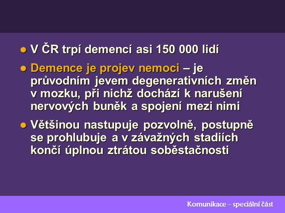 Komunikace – speciální část V ČR trpí demencí asi 150 000 lidí V ČR trpí demencí asi 150 000 lidí Demence je projev nemoci – je průvodním jevem degenerativních změn v mozku, při nichž dochází k narušení nervových buněk a spojení mezi nimi Demence je projev nemoci – je průvodním jevem degenerativních změn v mozku, při nichž dochází k narušení nervových buněk a spojení mezi nimi Většinou nastupuje pozvolně, postupně se prohlubuje a v závažných stadiích končí úplnou ztrátou soběstačnosti Většinou nastupuje pozvolně, postupně se prohlubuje a v závažných stadiích končí úplnou ztrátou soběstačnosti