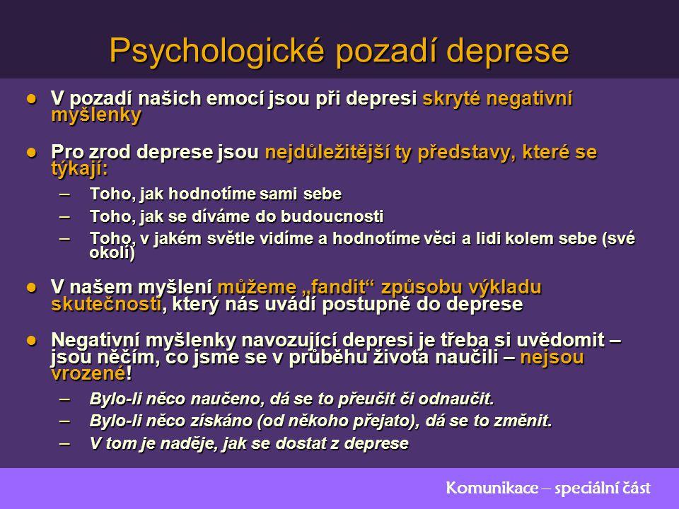 """Komunikace – speciální část Psychologické pozadí deprese V pozadí našich emocí jsou při depresi skryté negativní myšlenky V pozadí našich emocí jsou při depresi skryté negativní myšlenky Pro zrod deprese jsou nejdůležitější ty představy, které se týkají: Pro zrod deprese jsou nejdůležitější ty představy, které se týkají: – Toho, jak hodnotíme sami sebe – Toho, jak se díváme do budoucnosti – Toho, v jakém světle vidíme a hodnotíme věci a lidi kolem sebe (své okolí) V našem myšlení můžeme """"fandit způsobu výkladu skutečnosti, který nás uvádí postupně do deprese V našem myšlení můžeme """"fandit způsobu výkladu skutečnosti, který nás uvádí postupně do deprese Negativní myšlenky navozující depresi je třeba si uvědomit – jsou něčím, co jsme se v průběhu života naučili – nejsou vrozené."""