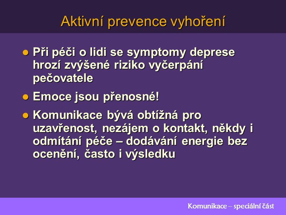 Komunikace – speciální část Aktivní prevence vyhoření Při péči o lidi se symptomy deprese hrozí zvýšené riziko vyčerpání pečovatele Při péči o lidi se