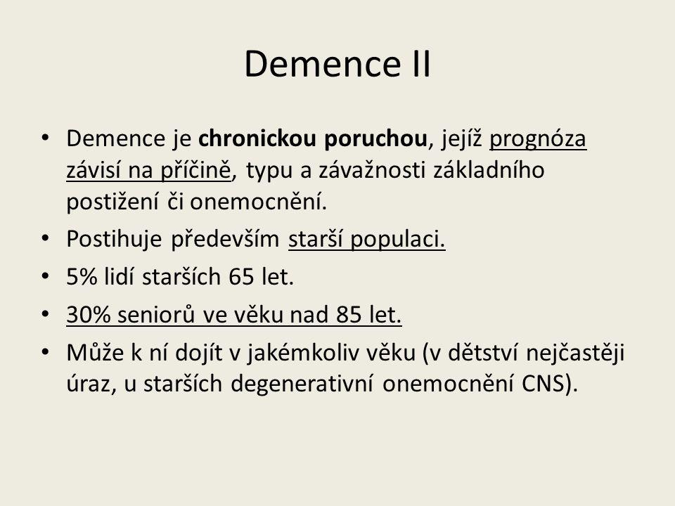 Demence II Demence je chronickou poruchou, jejíž prognóza závisí na příčině, typu a závažnosti základního postižení či onemocnění.