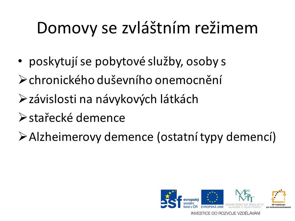 Domovy se zvláštním režimem poskytují se pobytové služby, osoby s  chronického duševního onemocnění  závislosti na návykových látkách  stařecké demence  Alzheimerovy demence (ostatní typy demencí)