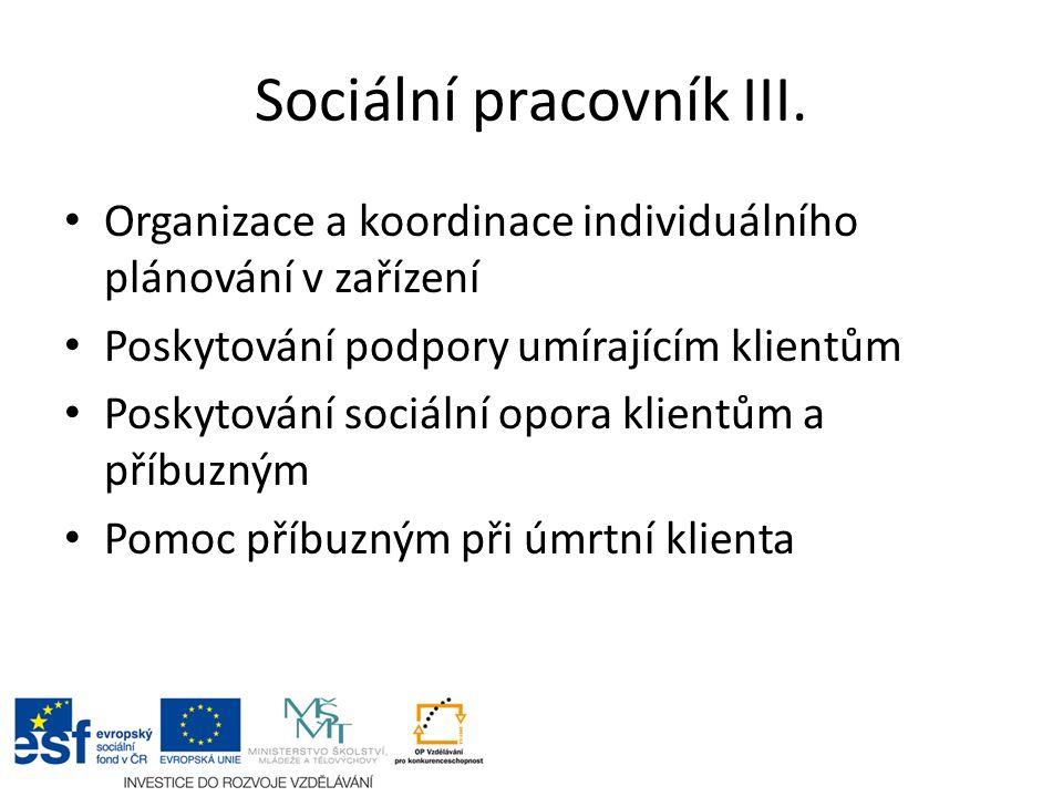 Sociální pracovník III. Organizace a koordinace individuálního plánování v zařízení Poskytování podpory umírajícím klientům Poskytování sociální opora