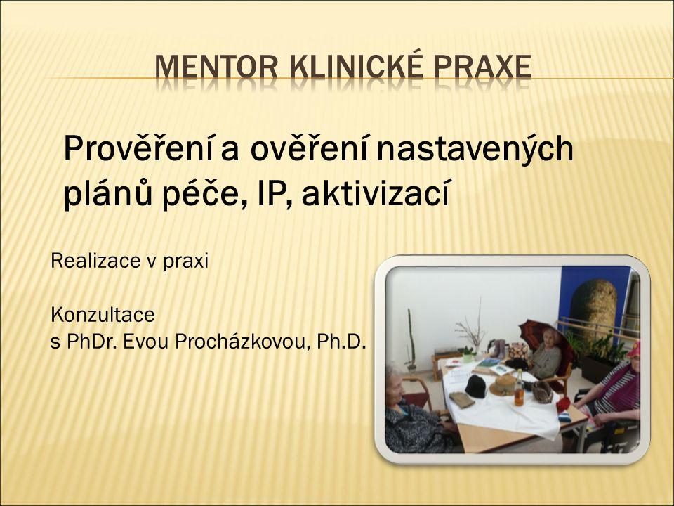 Prověření a ověření nastavených plánů péče, IP, aktivizací Realizace v praxi Konzultace s PhDr.