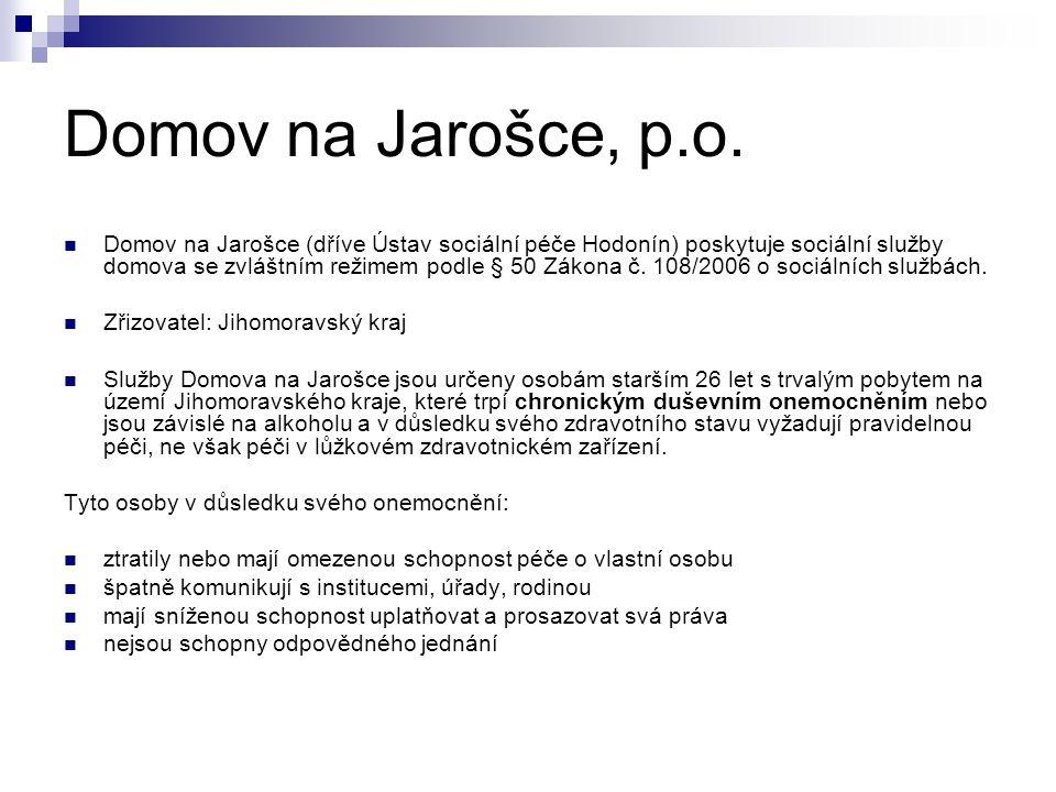Domov na Jarošce (dříve Ústav sociální péče Hodonín) poskytuje sociální služby domova se zvláštním režimem podle § 50 Zákona č. 108/2006 o sociálních