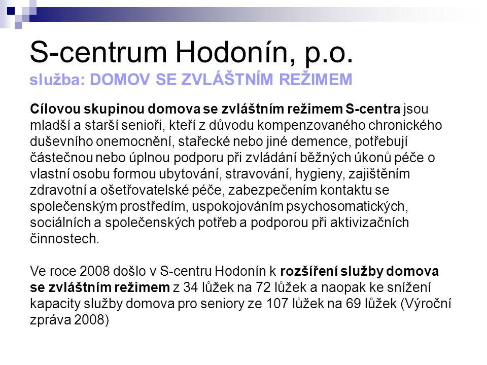 S-centrum Hodonín, p.o. služba: DOMOV SE ZVLÁŠTNÍM REŽIMEM Cílovou skupinou domova se zvláštním režimem S-centra jsou mladší a starší senioři, kteří z