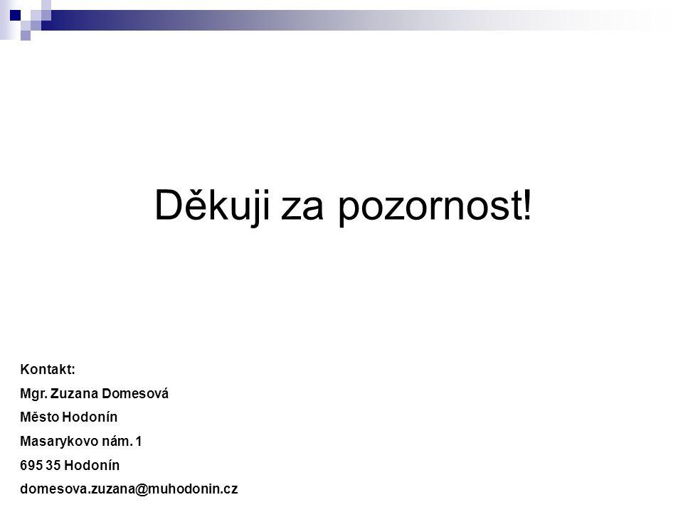 Děkuji za pozornost! Kontakt: Mgr. Zuzana Domesová Město Hodonín Masarykovo nám. 1 695 35 Hodonín domesova.zuzana@muhodonin.cz