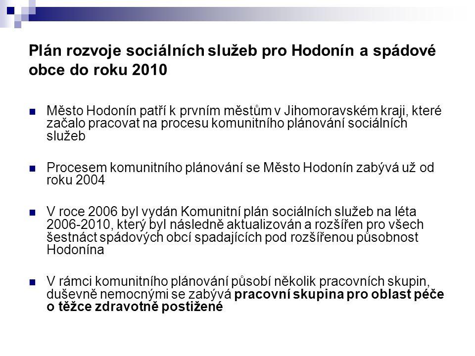 Plán rozvoje sociálních služeb pro Hodonín a spádové obce do roku 2010 Město Hodonín patří k prvním městům v Jihomoravském kraji, které začalo pracova