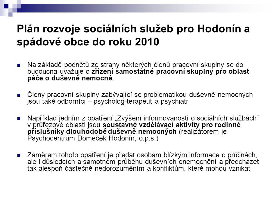Plán rozvoje sociálních služeb pro Hodonín a spádové obce do roku 2010 Na základě podnětů ze strany některých členů pracovní skupiny se do budoucna uv