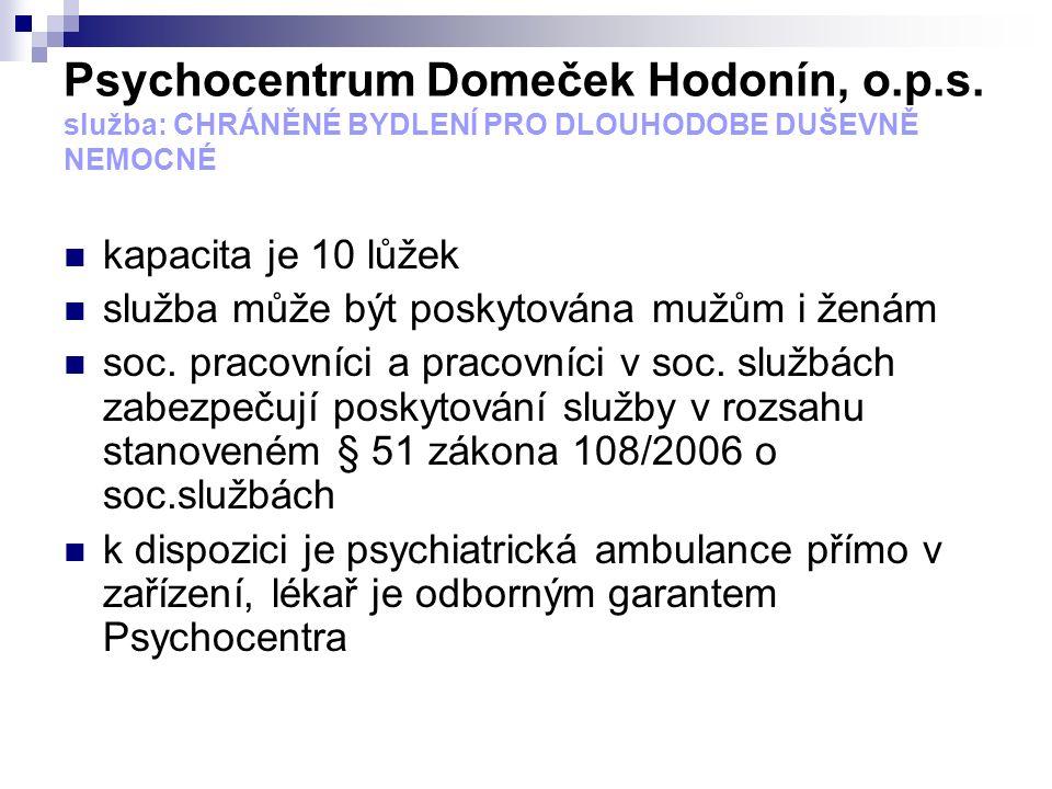 Psychocentrum Domeček Hodonín, o.p.s. služba: CHRÁNĚNÉ BYDLENÍ PRO DLOUHODOBE DUŠEVNĚ NEMOCNÉ kapacita je 10 lůžek služba může být poskytována mužům i