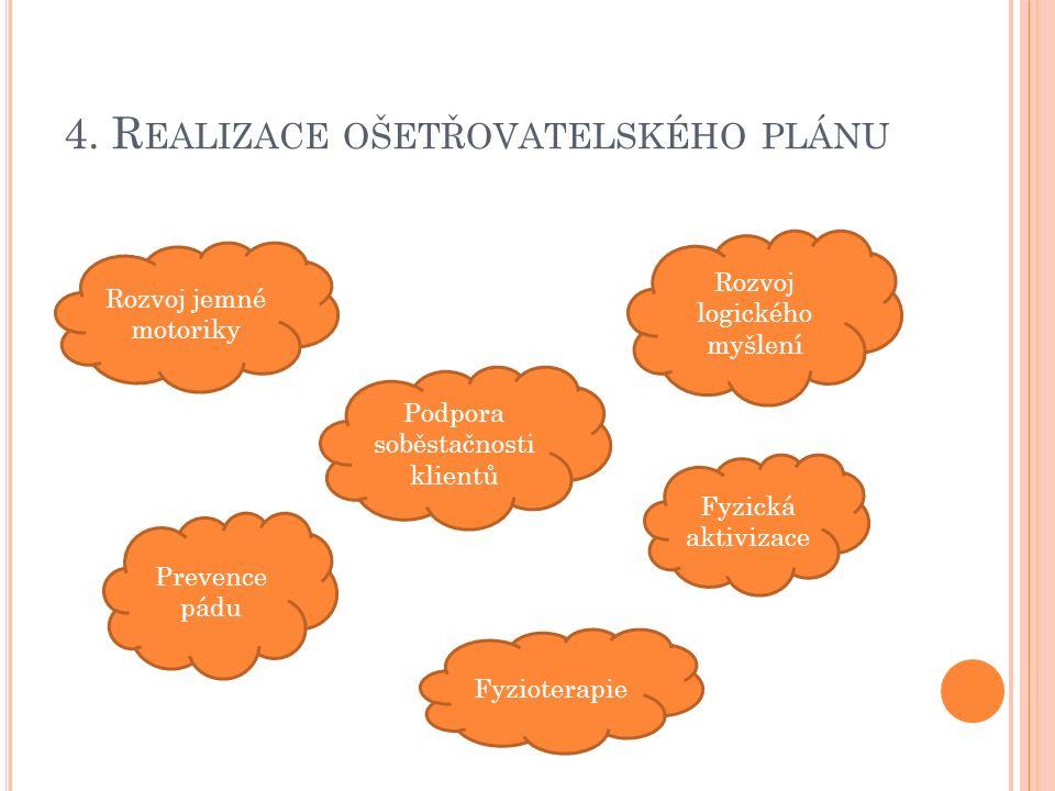 4. R EALIZACE OŠETŘOVATELSKÉHO PLÁNU Rozvoj jemné motoriky Rozvoj logického myšlení Prevence pádu Fyzická aktivizace Fyzioterapie Podpora soběstačnost