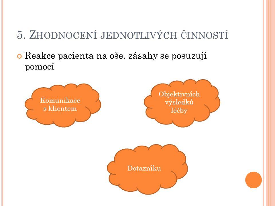 5. Z HODNOCENÍ JEDNOTLIVÝCH ČINNOSTÍ Reakce pacienta na oše.