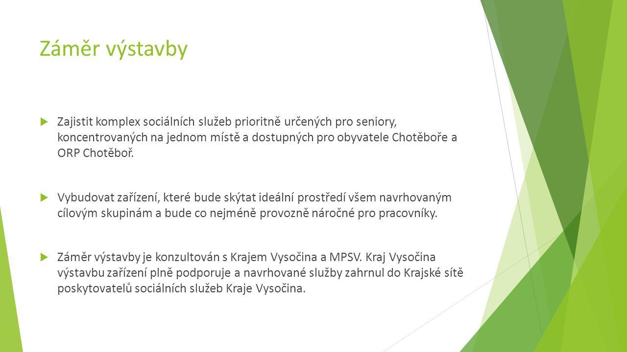 Záměr výstavby  Zajistit komplex sociálních služeb prioritně určených pro seniory, koncentrovaných na jednom místě a dostupných pro obyvatele Chotěboře a ORP Chotěboř.