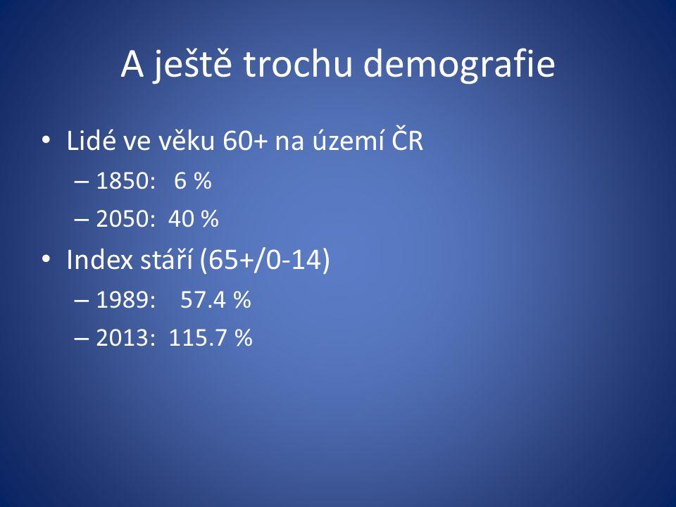 A ještě trochu demografie Lidé ve věku 60+ na území ČR – 1850: 6 % – 2050: 40 % Index stáří (65+/0-14) – 1989: 57.4 % – 2013: 115.7 %