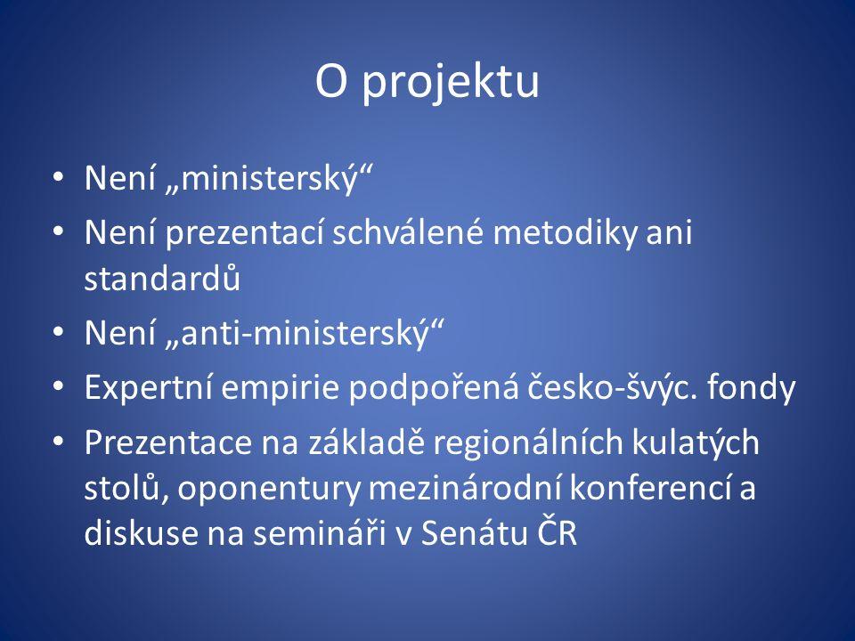 """O projektu Není """"ministerský Není prezentací schválené metodiky ani standardů Není """"anti-ministerský Expertní empirie podpořená česko-švýc."""