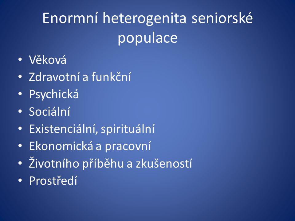 Enormní heterogenita seniorské populace Věková Zdravotní a funkční Psychická Sociální Existenciální, spirituální Ekonomická a pracovní Životního příběhu a zkušeností Prostředí