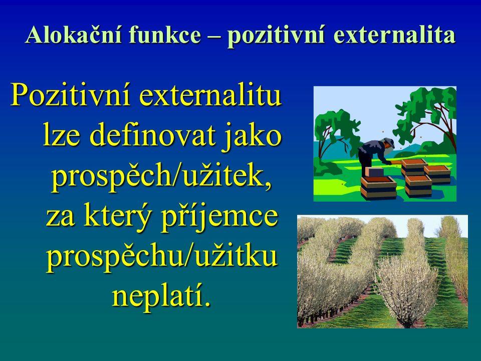 Alokační funkce – pozitivní externalita Pozitivní externalitu lze definovat jako prospěch/užitek, za který příjemce prospěchu/užitku neplatí.