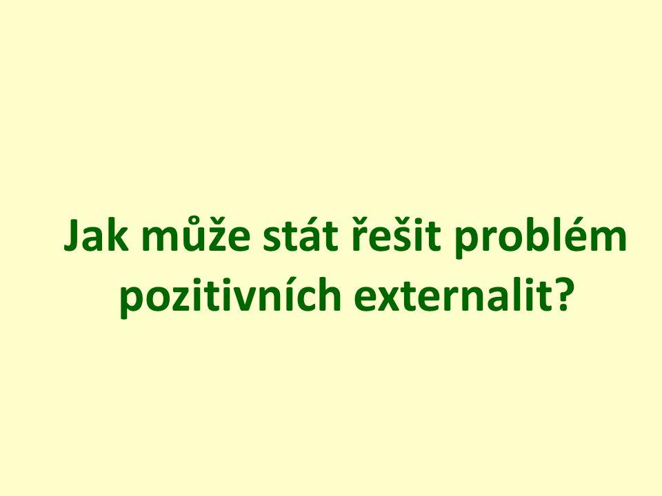 Jak může stát řešit problém pozitivních externalit?