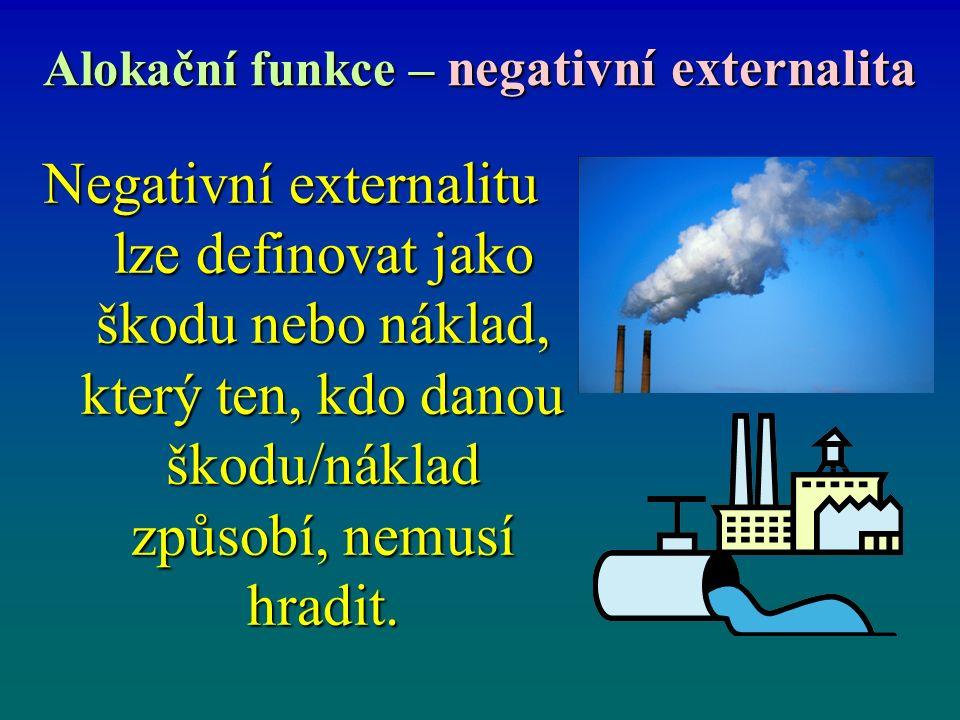 Alokační funkce – negativní externalita Negativní externalitu lze definovat jako škodu nebo náklad, který ten, kdo danou škodu/náklad způsobí, nemusí hradit.