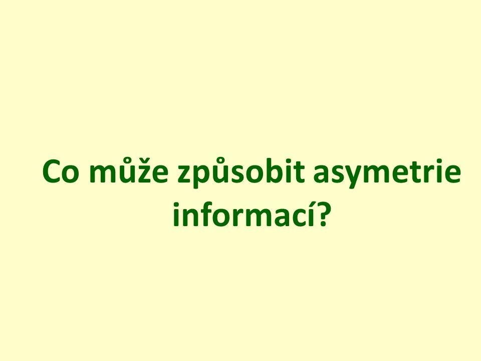 Co může způsobit asymetrie informací?