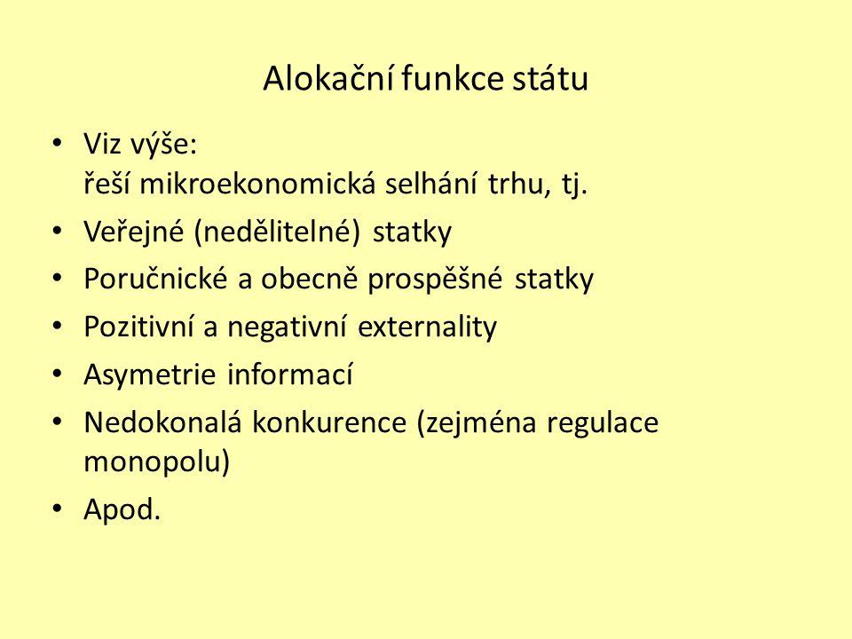 Alokační funkce státu Viz výše: řeší mikroekonomická selhání trhu, tj. Veřejné (nedělitelné) statky Poručnické a obecně prospěšné statky Pozitivní a n