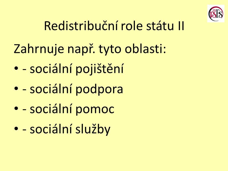 Redistribuční role státu II Zahrnuje např. tyto oblasti: - sociální pojištění - sociální podpora - sociální pomoc - sociální služby