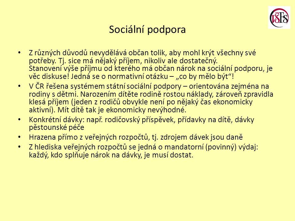 Sociální podpora Z různých důvodů nevydělává občan tolik, aby mohl krýt všechny své potřeby.