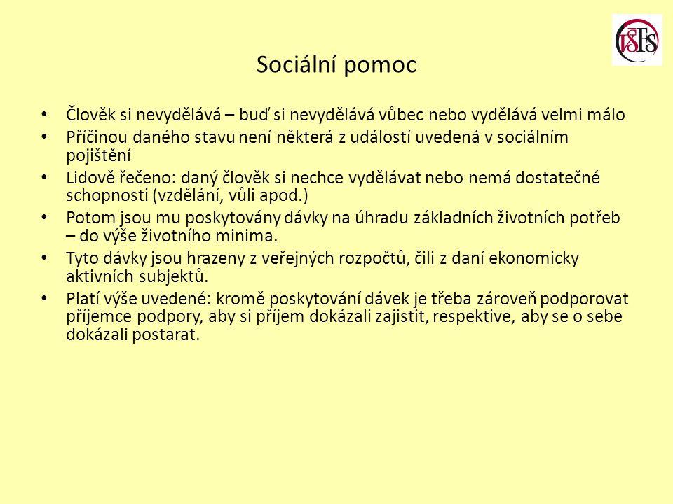 Sociální pomoc Člověk si nevydělává – buď si nevydělává vůbec nebo vydělává velmi málo Příčinou daného stavu není některá z událostí uvedená v sociáln