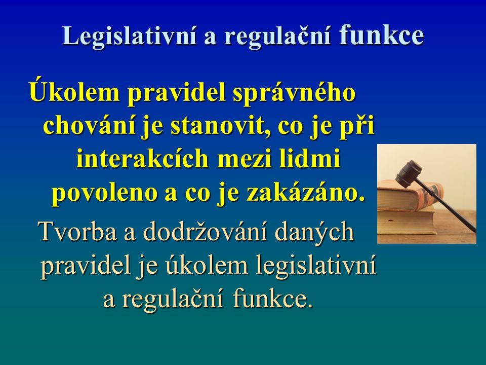 Legislativní a regulační funkce Úkolem pravidel správného chování je stanovit, co je při interakcích mezi lidmi povoleno a co je zakázáno.