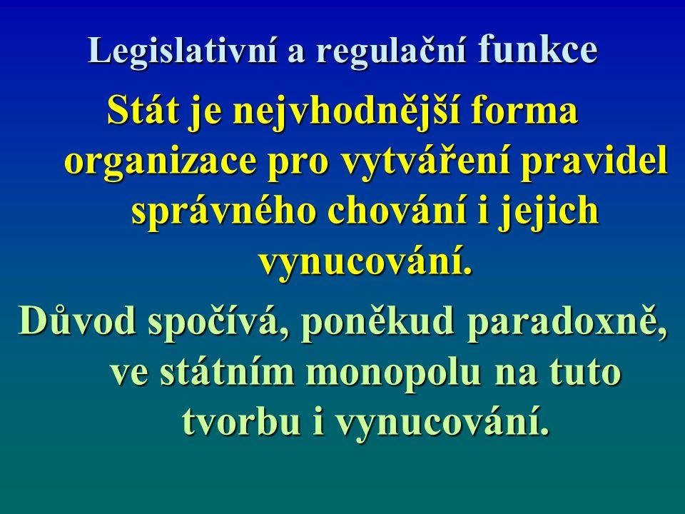 Legislativní a regulační funkce Stát je nejvhodnější forma organizace pro vytváření pravidel správného chování i jejich vynucování.