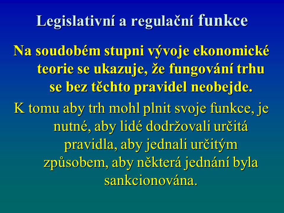 Legislativní a regulační funkce Na soudobém stupni vývoje ekonomické teorie se ukazuje, že fungování trhu se bez těchto pravidel neobejde. K tomu aby