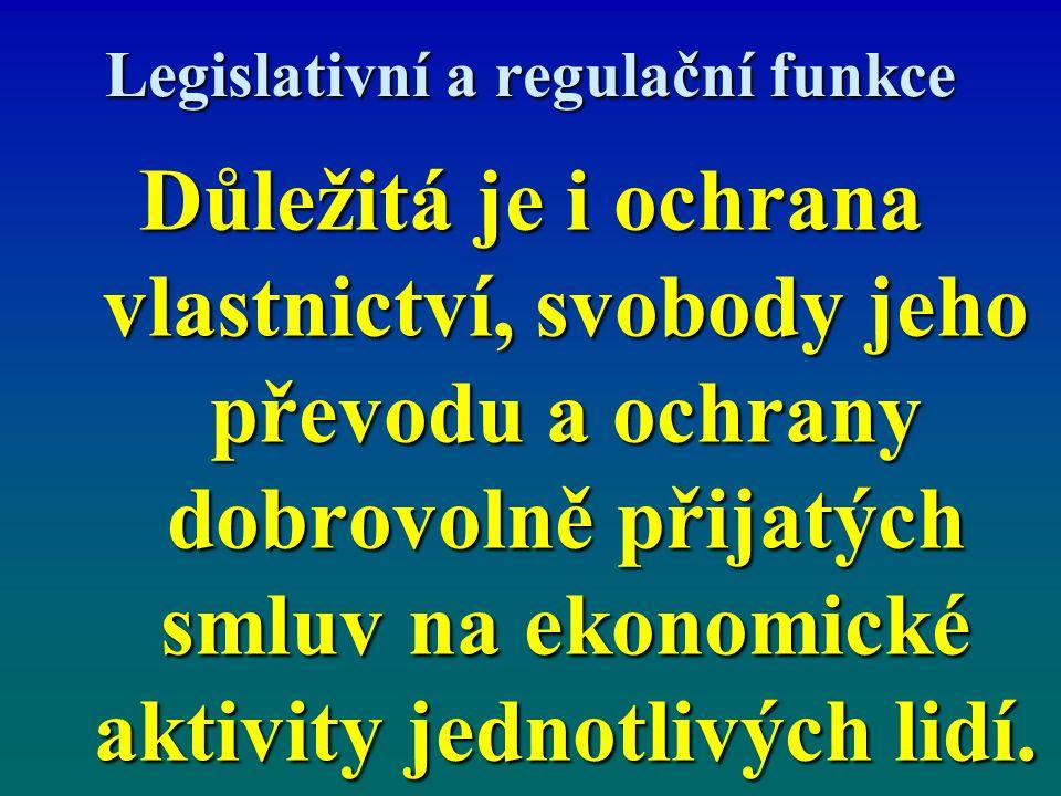 Legislativní a regulační funkce Důležitá je i ochrana vlastnictví, svobody jeho převodu a ochrany dobrovolně přijatých smluv na ekonomické aktivity je
