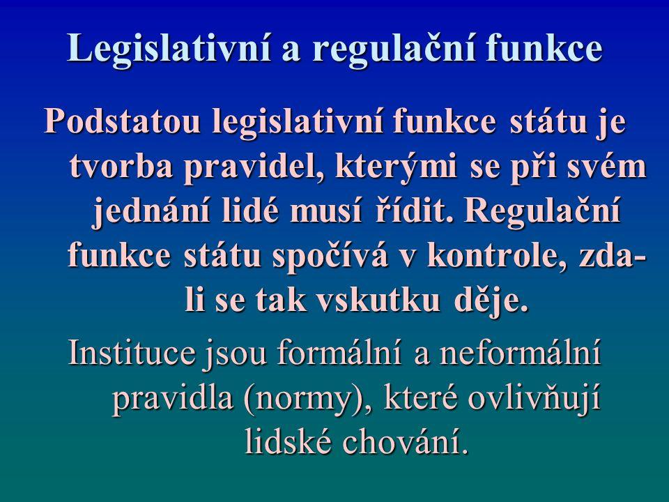 Legislativní a regulační funkce Podstatou legislativní funkce státu je tvorba pravidel, kterými se při svém jednání lidé musí řídit. Regulační funkce