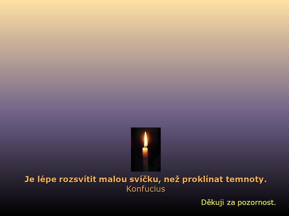 Děkuji za pozornost. Je lépe rozsvítit malou svíčku, než proklínat temnoty. Konfucius