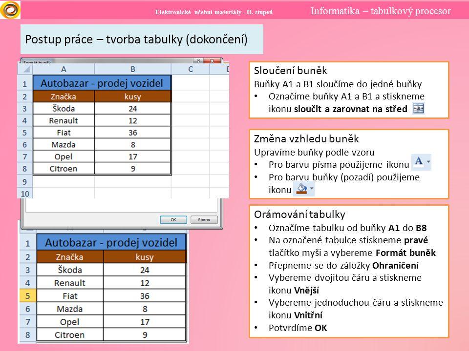 Elektronické učební materiály - II. stupeň Informatika – tabulkový procesor Postup práce – tvorba tabulky (dokončení) Sloučení buněk Buňky A1 a B1 slo
