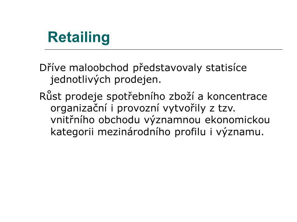Retailing Dříve maloobchod představovaly statisíce jednotlivých prodejen. Růst prodeje spotřebního zboží a koncentrace organizační i provozní vytvořil