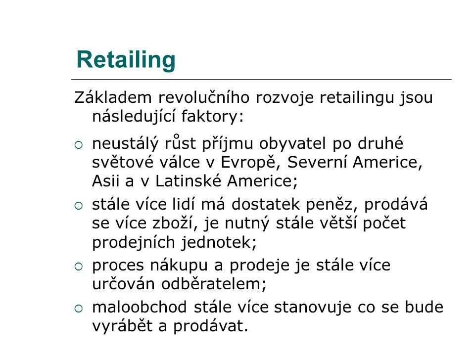 Retailing Základem revolučního rozvoje retailingu jsou následující faktory:  neustálý růst příjmu obyvatel po druhé světové válce v Evropě, Severní A