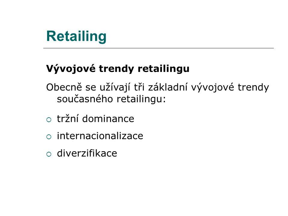 Retailing Vývojové trendy retailingu Obecně se užívají tři základní vývojové trendy současného retailingu:  tržní dominance  internacionalizace  di