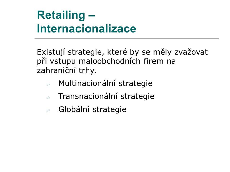 Retailing – Internacionalizace Existují strategie, které by se měly zvažovat při vstupu maloobchodních firem na zahraniční trhy. o Multinacionální str