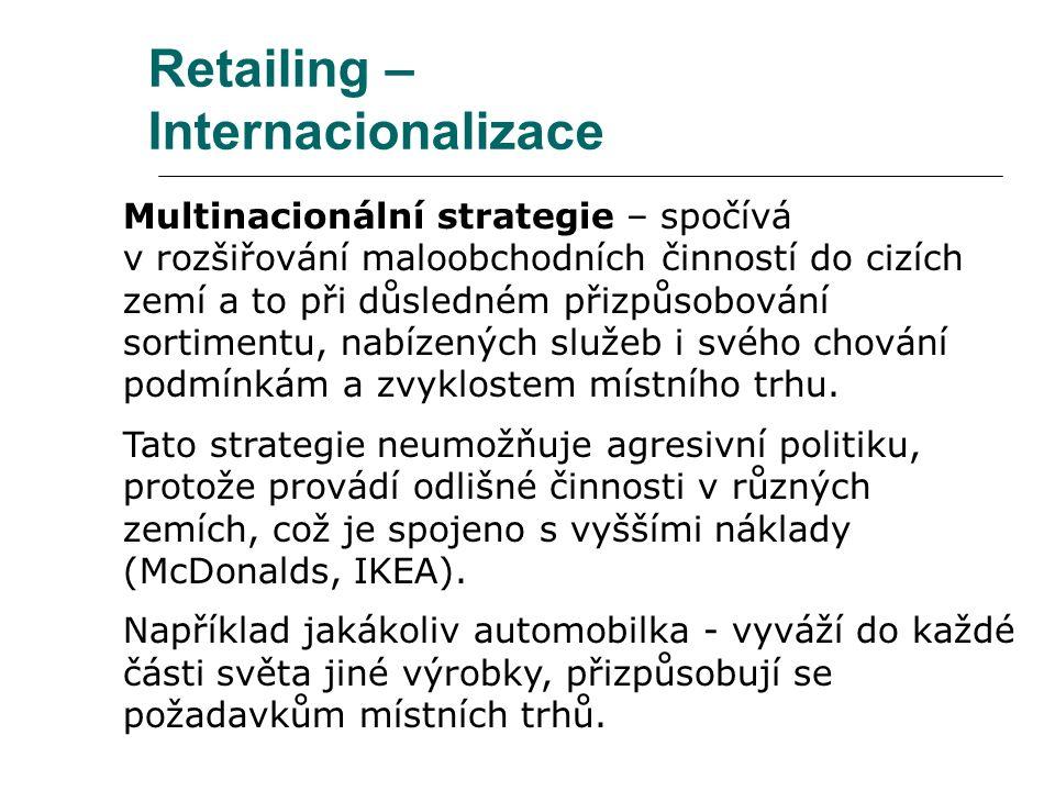 Retailing – Internacionalizace Multinacionální strategie – spočívá v rozšiřování maloobchodních činností do cizích zemí a to při důsledném přizpůsobov