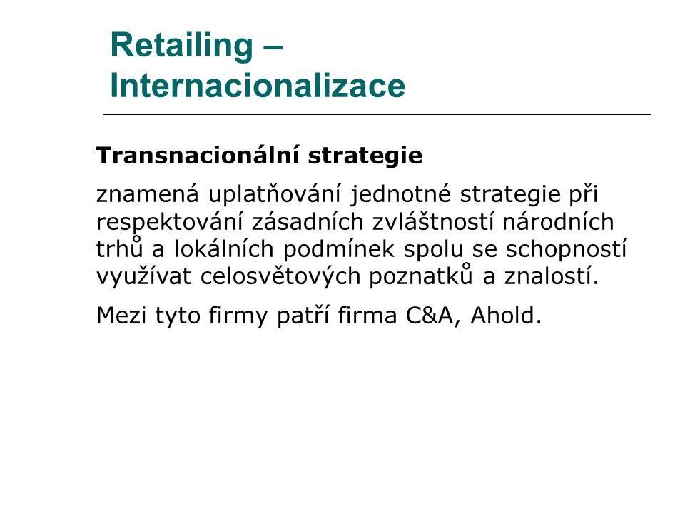 Retailing – Internacionalizace Transnacionální strategie znamená uplatňování jednotné strategie při respektování zásadních zvláštností národních trhů