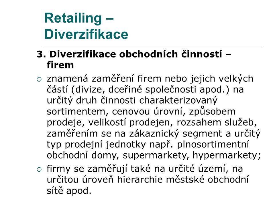 Retailing – Diverzifikace 3. Diverzifikace obchodních činností – firem  znamená zaměření firem nebo jejich velkých částí (divize, dceřiné společnosti