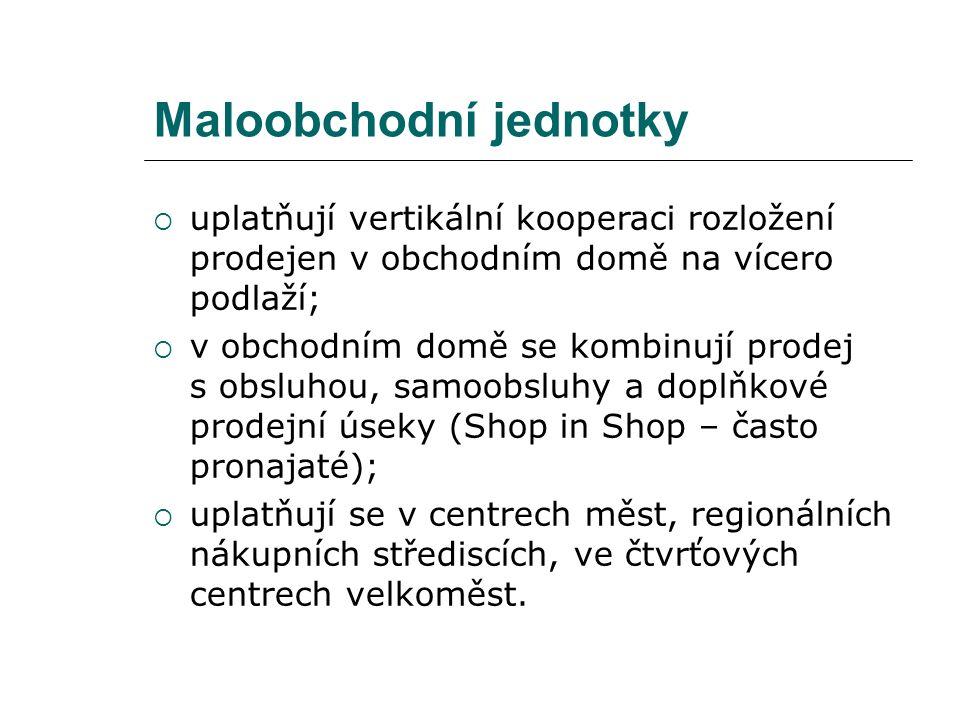 Maloobchodní jednotky  uplatňují vertikální kooperaci rozložení prodejen v obchodním domě na vícero podlaží;  v obchodním domě se kombinují prodej s