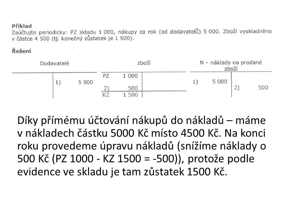 Díky přímému účtování nákupů do nákladů – máme v nákladech částku 5000 Kč místo 4500 Kč.