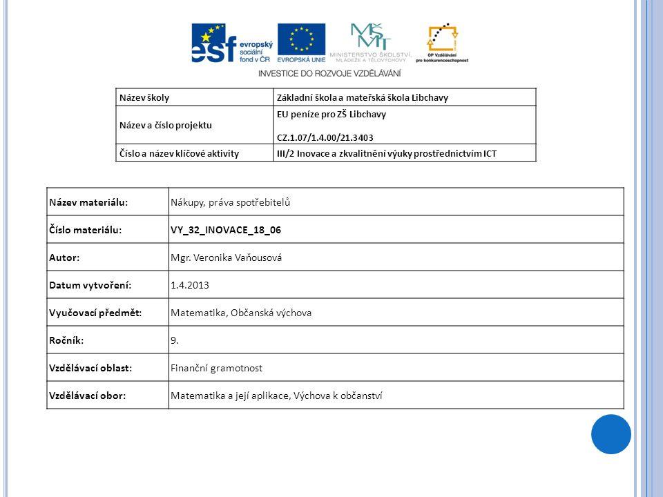 Název školyZákladní škola a mateřská škola Libchavy Název a číslo projektu EU peníze pro ZŠ Libchavy CZ.1.07/1.4.00/21.3403 Číslo a název klíčové aktivityIII/2 Inovace a zkvalitnění výuky prostřednictvím ICT Název materiálu:Nákupy, práva spotřebitelů Číslo materiálu:VY_32_INOVACE_18_06 Autor:Mgr.