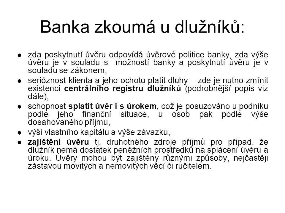 Úvěrové registry V současné době existují v ČR následující registry: –Bankovní registr klientských informací (BRKI) –Nebankovní registr klientských informací (NRKI) –SOLUS ( Sdružení na ochranu leasingu a úvěru spotřebitelům) Všechny tři registry patří do skupiny pozitivních registrů tzn.