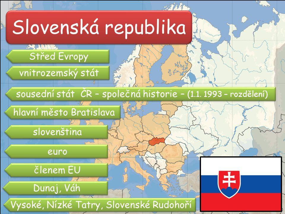 Slovenská republika Střed Evropy sousední stát ČR – společná historie – (1.1.