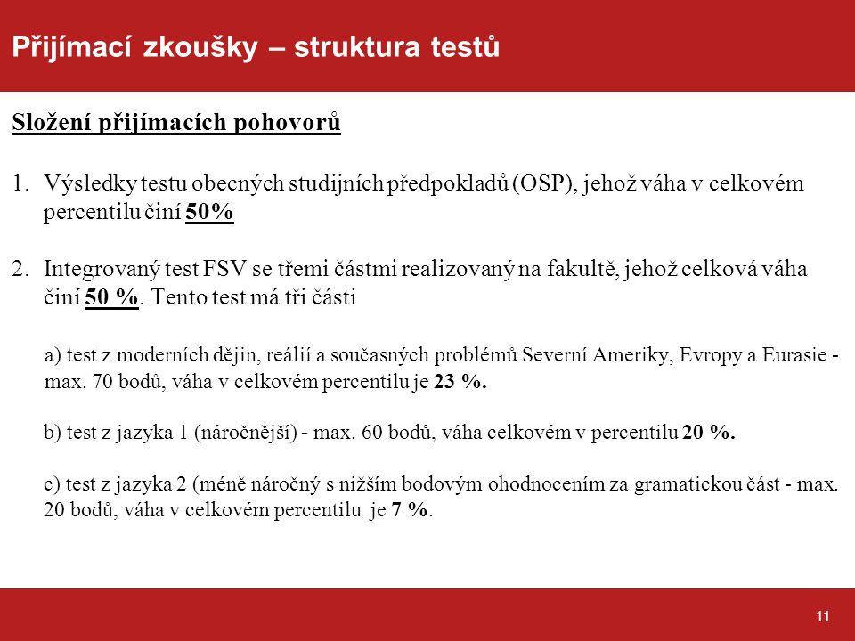 Přijímací zkoušky – struktura testů Složení přijímacích pohovorů 1.Výsledky testu obecných studijních předpokladů (OSP), jehož váha v celkovém percentilu činí 50% 2.Integrovaný test FSV se třemi částmi realizovaný na fakultě, jehož celková váha činí 50 %.