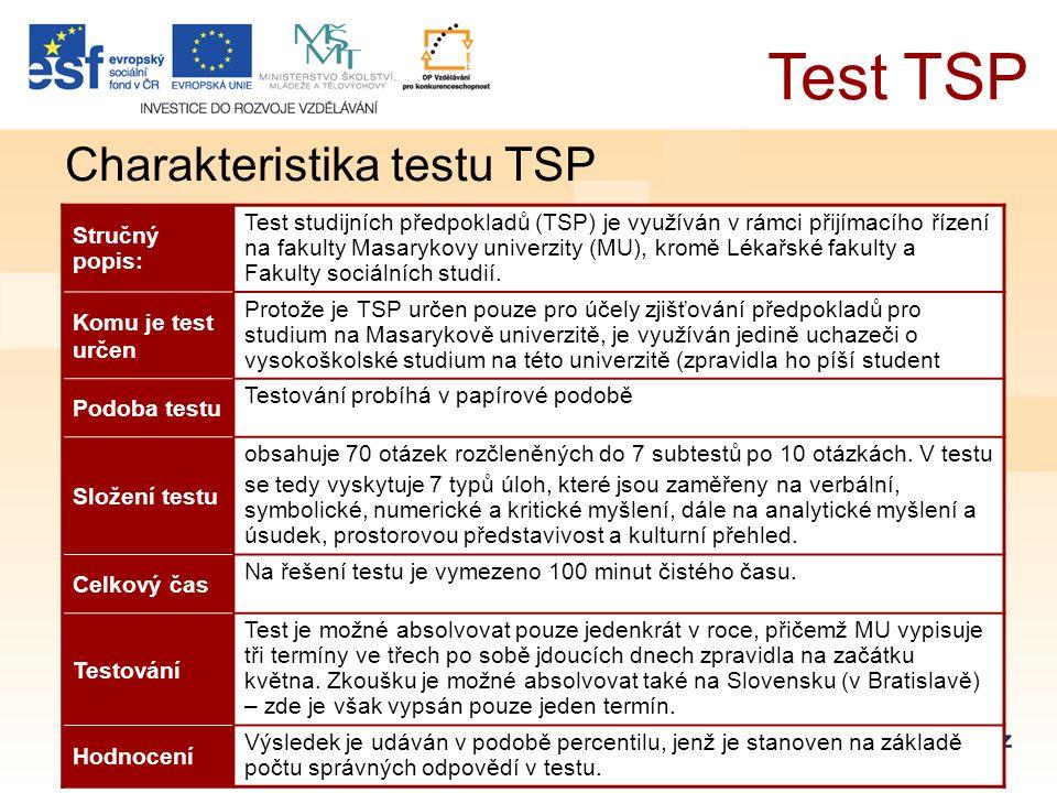 Charakteristika testu TSP Stručný popis: Test studijních předpokladů (TSP) je využíván v rámci přijímacího řízení na fakulty Masarykovy univerzity (MU), kromě Lékařské fakulty a Fakulty sociálních studií.